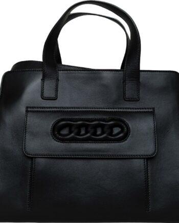 Mittelgrosse Henkel-Bag mit Kettenmotiv und breitem Schultergurt-0