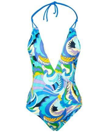 Holderneck-Badeanzug mit ornamentalem Muster-0