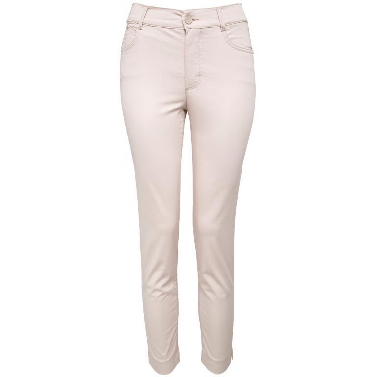 Slim-Pants mit hohem Bündchen und kleinen seitlichen Beinschlitzen in Stretch-Baumwolle-0
