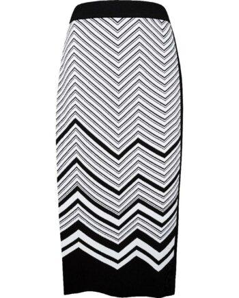 Pencil-Skirt in Midi-Länge mit seitlichem Schlitz und Grafikmuster-0