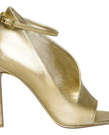 High-Heel-Peep-Toes in Metallicleder mit ondulierter Form und zartem Fesselriemchen-0