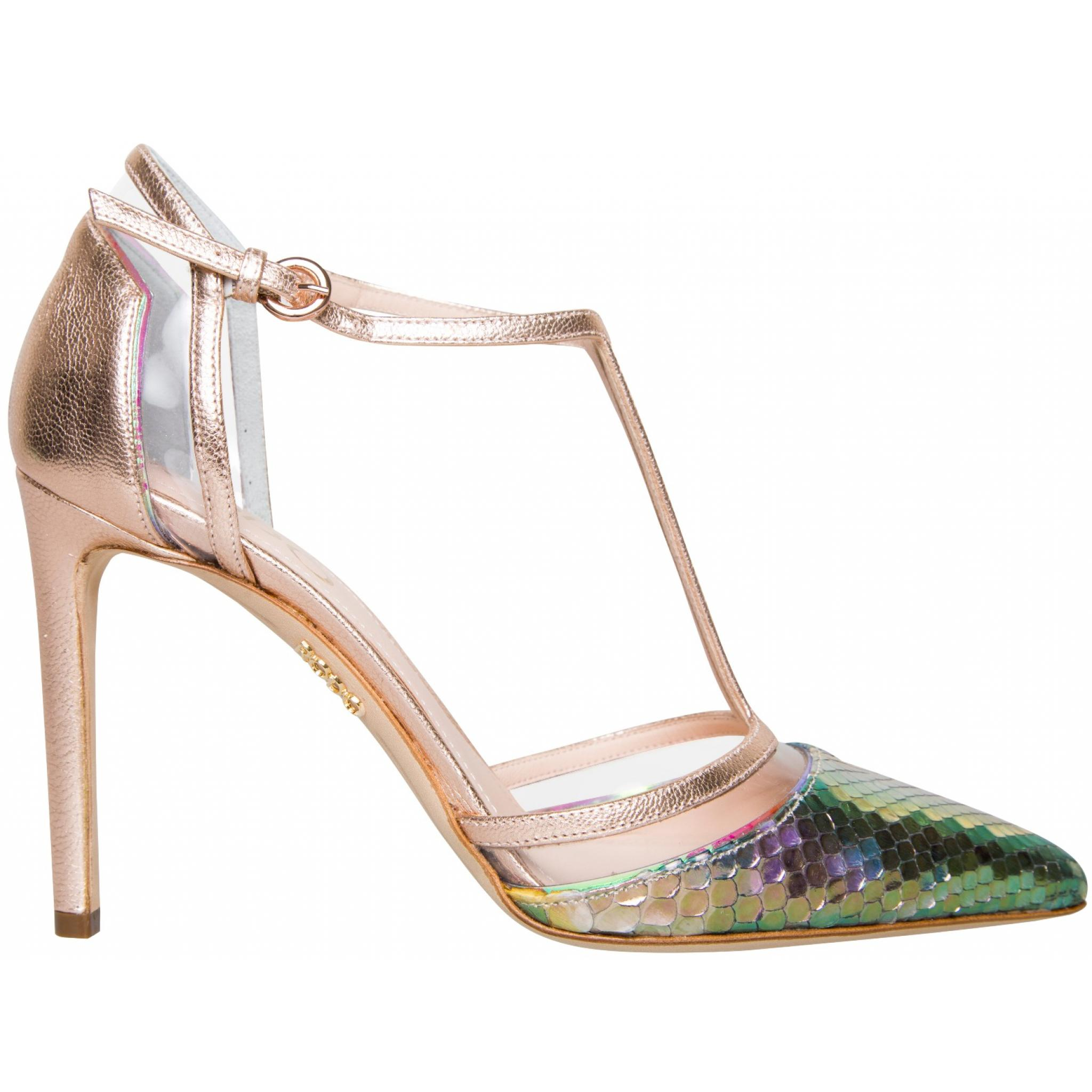 High-Heel-Pumps in changierendem Pythonleder mit T-Strap-0