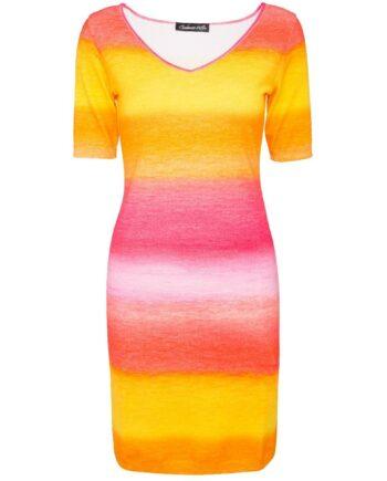 Silhouettennahes Kaschmir-Kleid in verschiedenen Prints -0