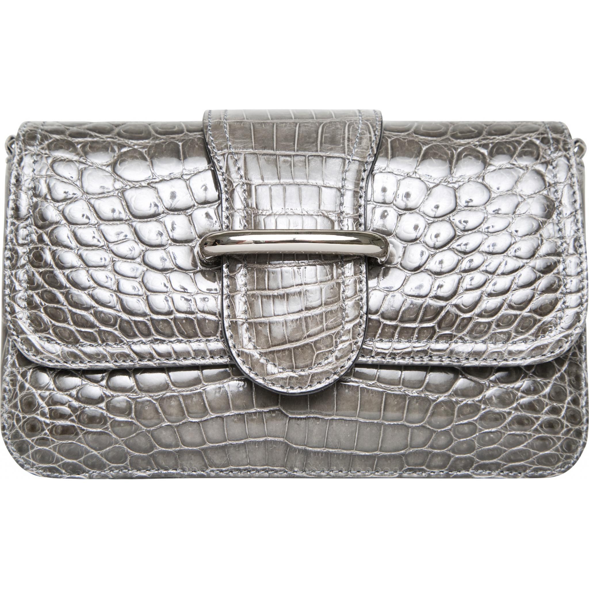 Kleine Tasche in Alligator-Leder mit Laschendetail und integriertem Schultergurt-0