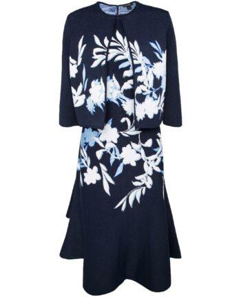 Set aus ausgestelltem Kleid und Bolero-Jäckchen mit Blumenmustermotiv.-0