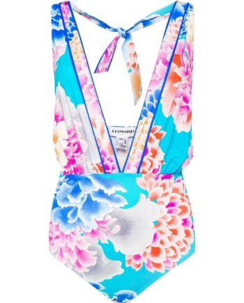 Holderneck-Badeanzug mit ornamentalen Flowerprint und tiefem Dekolleté-0