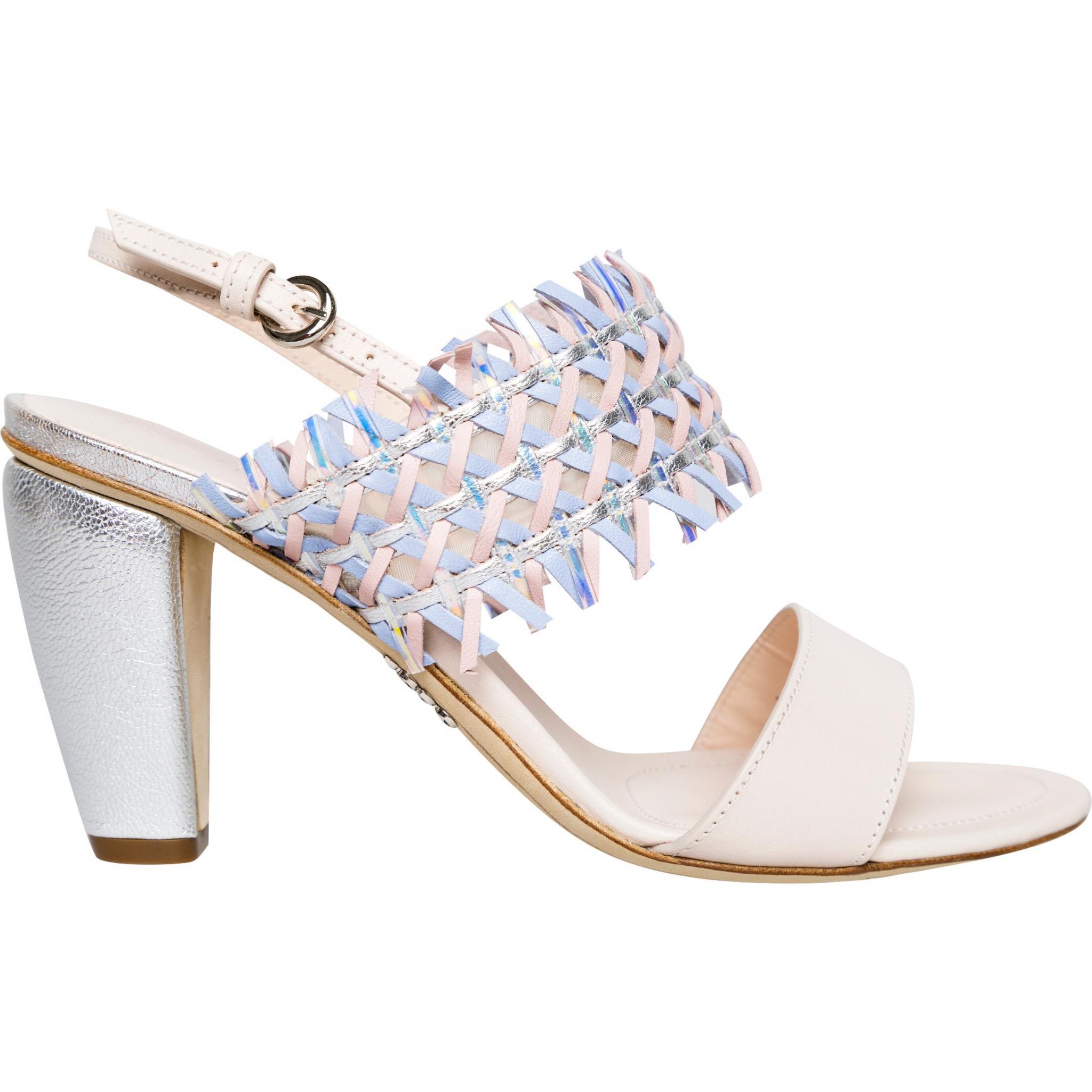 Sling-Back-Sandaletten mit geflochtenem Detail und breitem Absatz-0