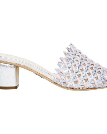 Sandalen mit geflochtenem Detail und breitem Absatz-0