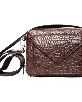 Tasche in Krokodilleder mit aufgesetzer Mini-Bag und breitem Stoff-Schultergurt-0