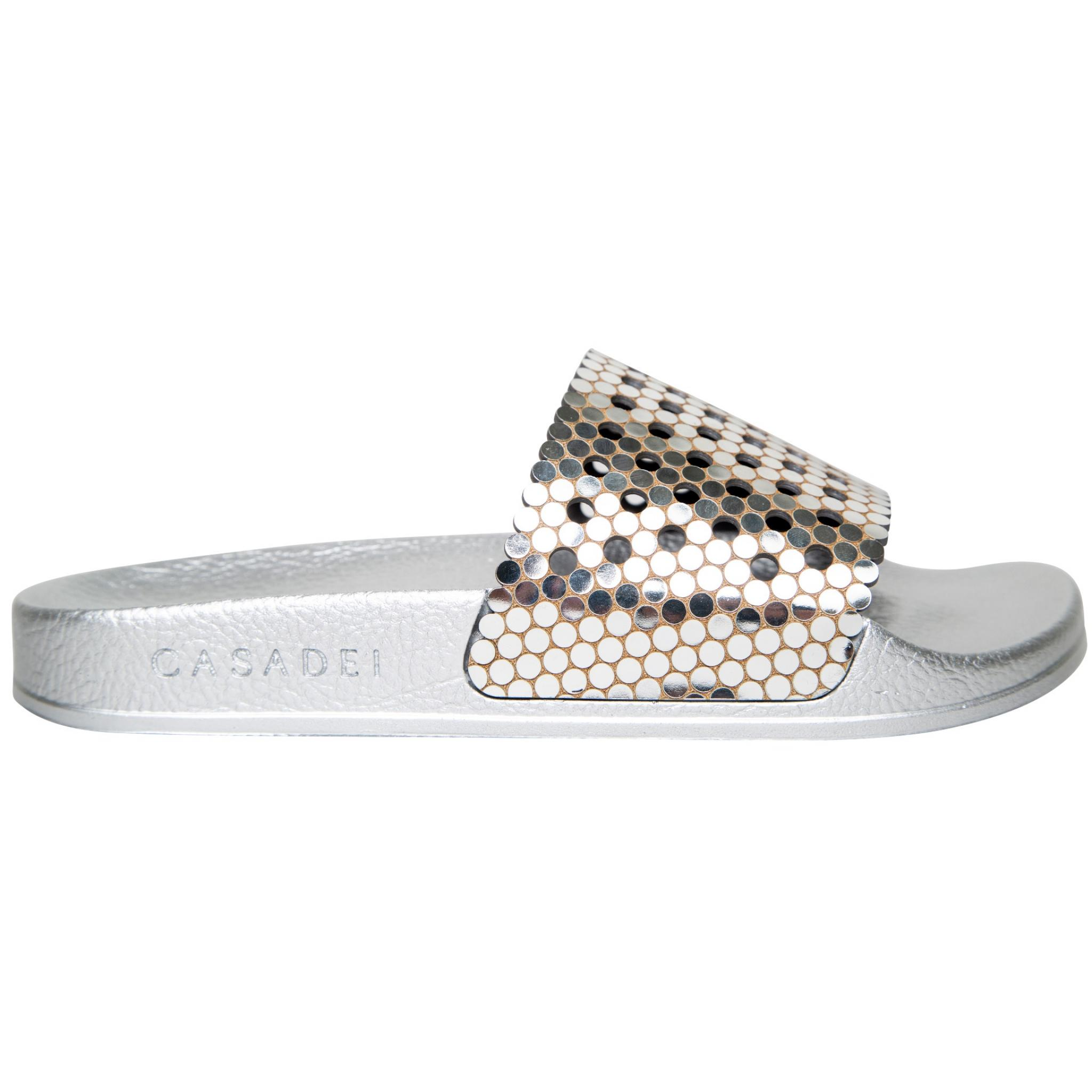 Metallic Slippers mit Cut-out details -0