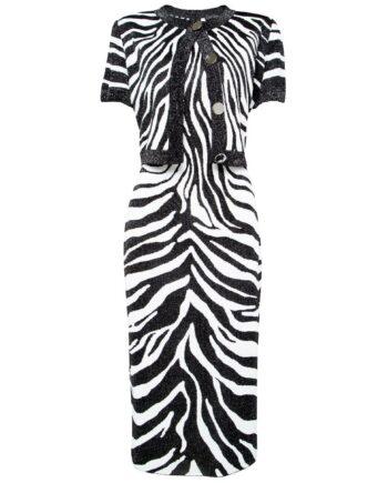 Set aus ärmellosem Kleid und Bolerojäckchen mit Zebramusterprint-0