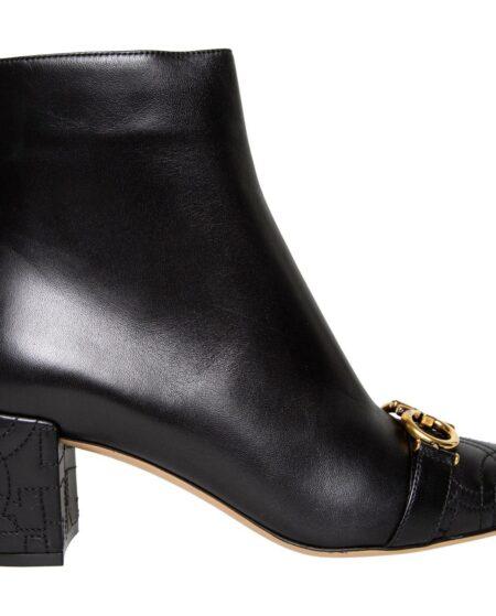 Ankle-Booties mit breitem Absatz, Absteppungen und Schnallendetail-0