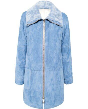 Lange Jacke in Lammveloursleder mit Zipp-Schließe und Fell-Reverskragen-0