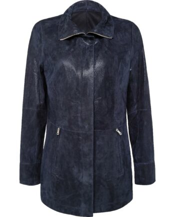 Jacke in Lammveloursleder mit zartem Metallicglanz und Zipp-Schließe-0