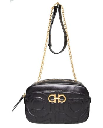 Ovale Bag mit Logo-Absteppung und langem Kettenhenkel-0