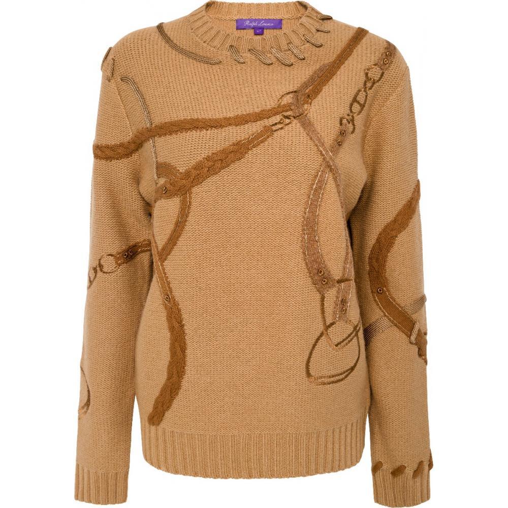 Hüftlanger Pullover im Woll-Kaschmirmix mit ornamentalen Applikationen-0
