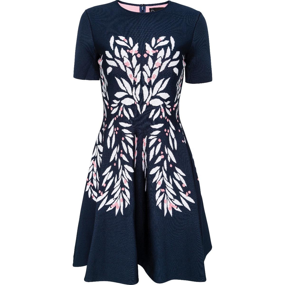 Knielanges Kleid in Strech-Viskose mit Blütenmotiv-0