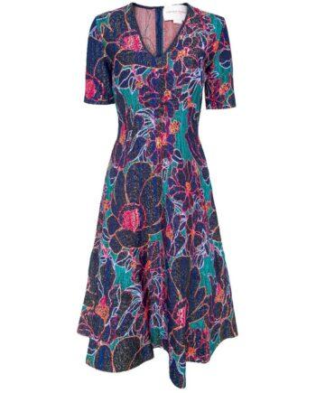 Knielanges, tailliertes Kleid in Stretch-Viskose mit Blumenmusterprint und leicht ausgestelltem Rockteil-0