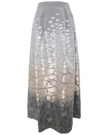Taillierter, leicht ausgestellter Maxirock im Seidengemisch-0