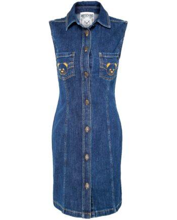 Tailliertes, ärmelloses Jeanskleid mit aufgesetzten Brusttaschen und Bärchenmotivstickerei-0