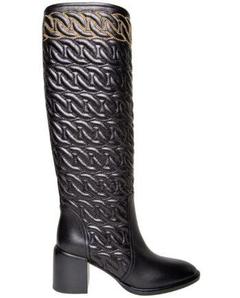 Kniehohe Boots in abgestepptem Leder mit Blockabsatz und Nietenzier-0