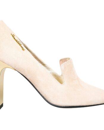 High-Heels in Veloursleder mit Logo-Plakette-0