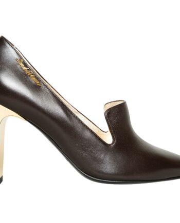 High-Heels in Glattleder mit Logo-Plakette-0