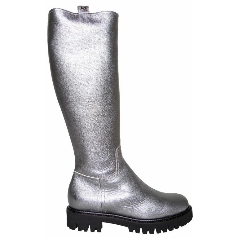 Grobe Boots in Metallicleder mit Zippschließe-0