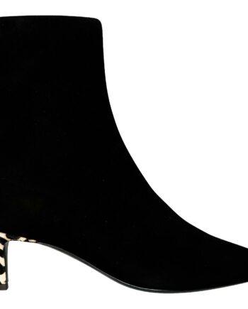 Ankle-Booties mit Kitten-Heel und rückseitigem Leoprintfell-Besatz-0