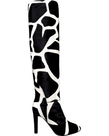 Kniehohe Two-Tone-Boots in Ponyfell mit High-Heel-0