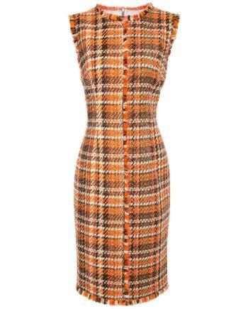 Knielanges Tweed-Kleid mit mittigem Fransendetail und zarten Metallicfäden-0