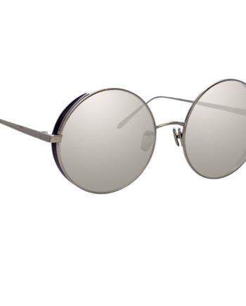 Verspiegelte Oversized-Sonnenbrille aus Titan und rundem Rahmen mit Weißgold-Überzug-0