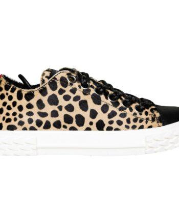 Sneakers in Leoprintfell mit breiter Sohle-0