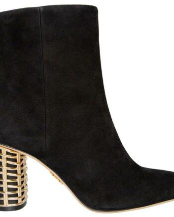 Kurze Veloursleder-Boots mit Cage-Heel in Metallic-0