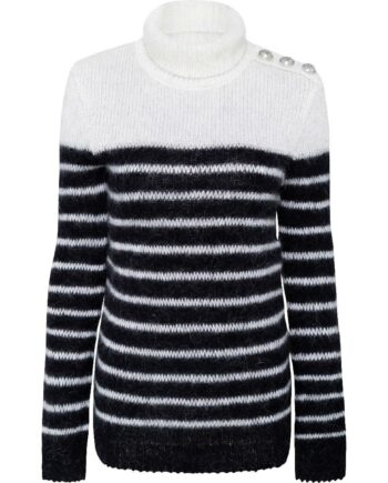 Long-Pullover im Grobstrick mit Rollkragen und seitlicher Schulterknopfzier-0