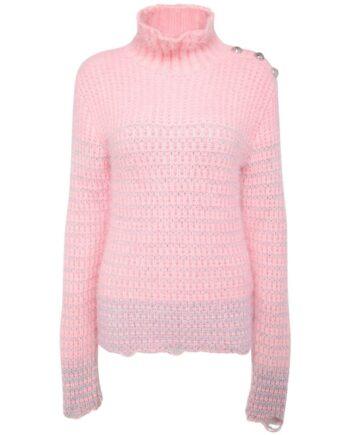 Long-Pullover mit Stehkragen, Knopfzier und Maxi-Ärmeln-0