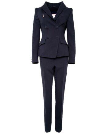 Anzug aus tailliertem Blazer und schmaler Hose in Schurwolle-0