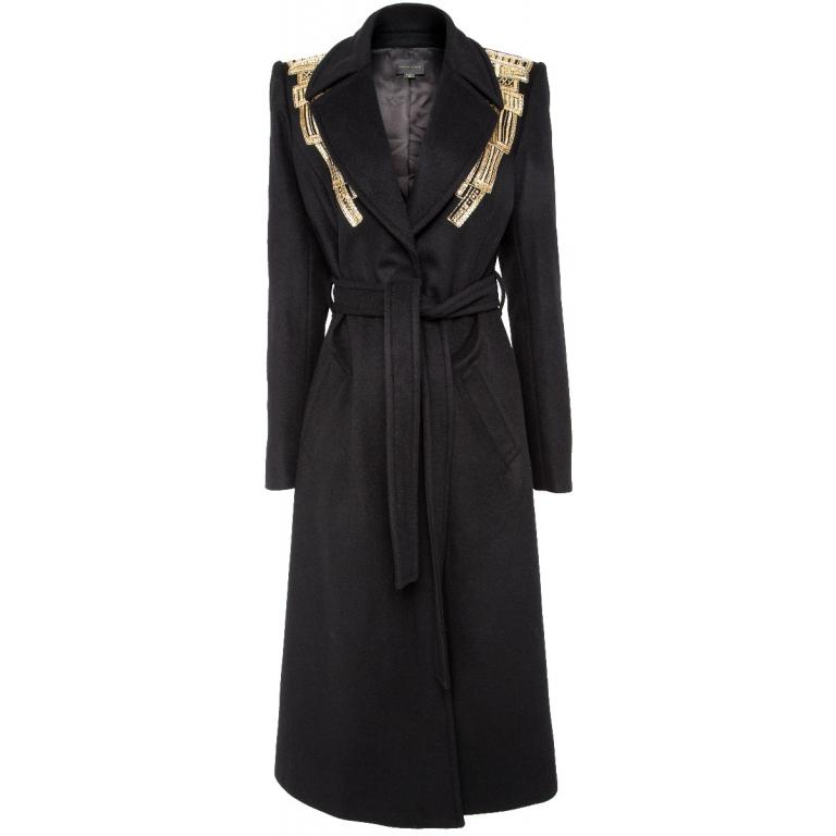Mantel im Fleece-Kaschmirgemisch mit Goldstickereien, Schulterpolster und Taillenbindegürtel-0