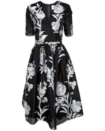 Kniebedeckendes Kleid mit floralem Motivprint mit Seidefütterung-0