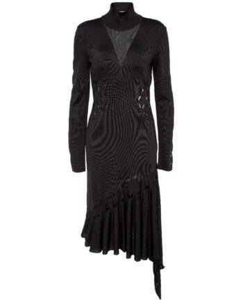 Semitransparentes Kleid mit asymmetrischem Rockteil und kleinem Stehkragen-0