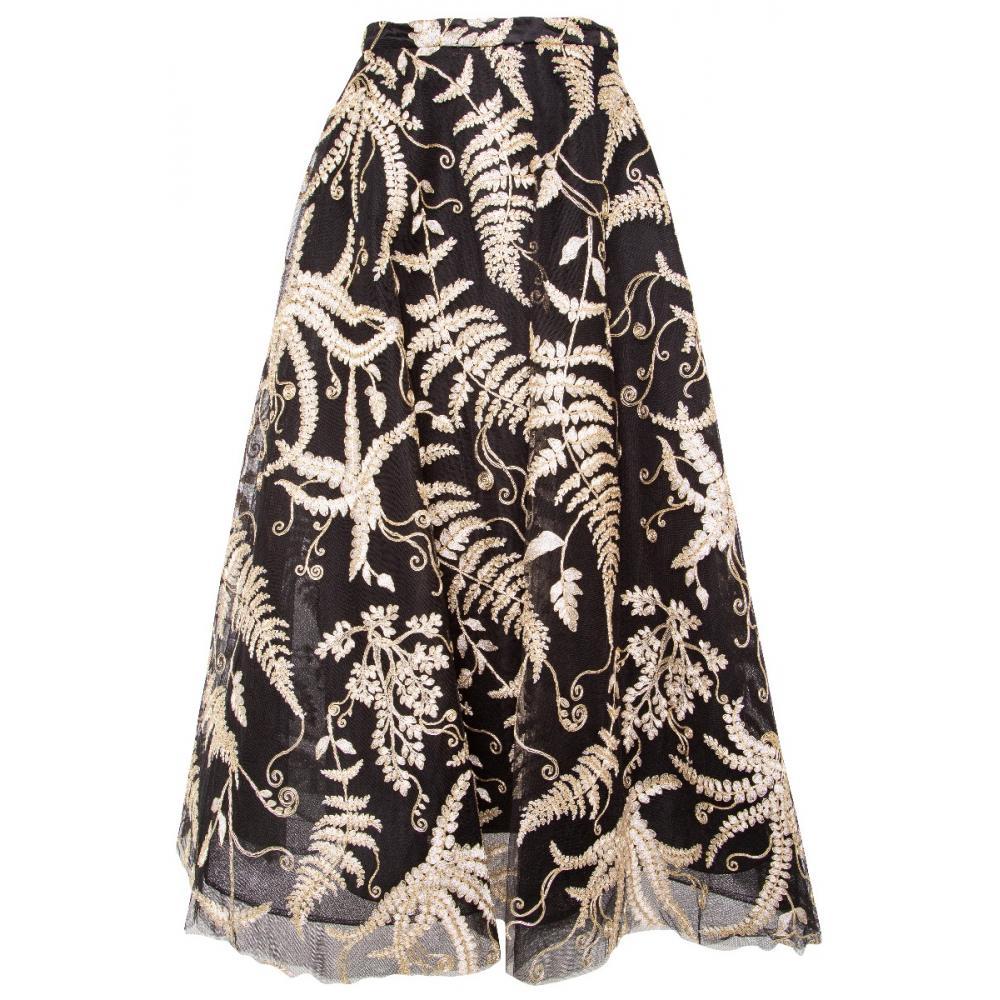Taillierter, ausgestellter Tüllrock mit ornamentaler Floraldeko-0