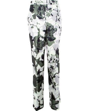 Seidenhose im geraden Schnitt mit floralem Camouflage-Motivprint-0