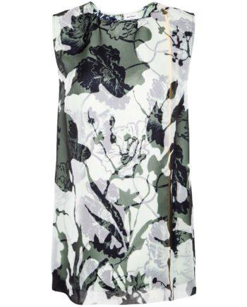 Seidentop im geraden Schnitt mit floralem Camouflage-Motivprint-0