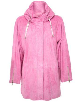 Long-Jacket in Velours-Lammleder mit integrierter Kapuze und Zippschließe-0
