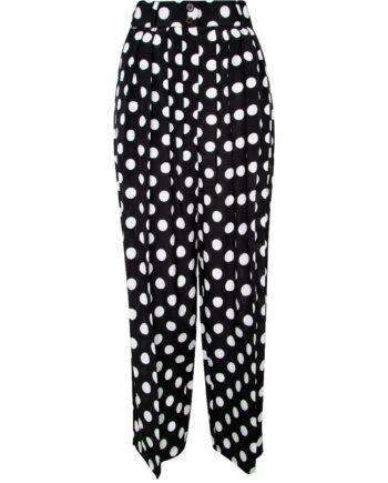Seidenhose im High-Waist-Cut mit Polka-Dot-Print-0