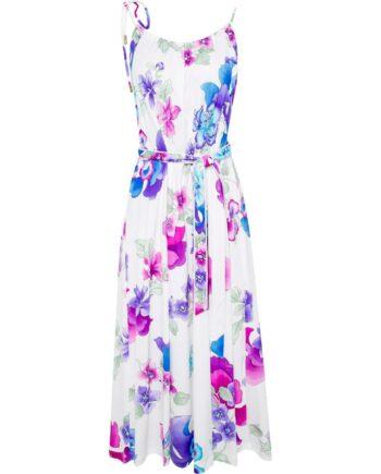 Kniebedeckendes Kleid mit Blumenmusterprint und Taillenbindegürtel-0