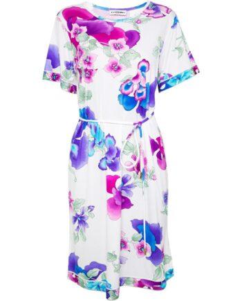 Knielanges Kleid mit Blumenmusterprint und Taillenbindegürtel-0