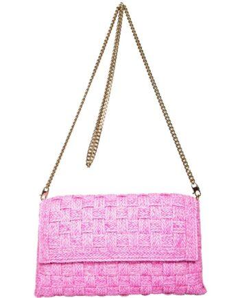 Mini-Bag aus geflochtenem Leder mit langem Kettenschultergurt-0