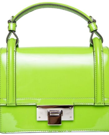 Mini-Henkelbag in Lackleder mit langem, schmalem, integriertem Schultergurt-0