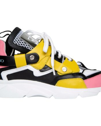 Sneakers im Materialmix mit breiter Profilsohle-0